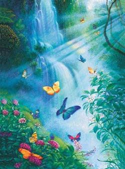 Butterflies in the Mist Waterfalls Jigsaw Puzzle
