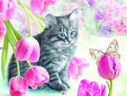 Cat & Tulips Mother's Day Large Piece