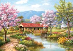 A Covered Bridge in Spring Spring Jigsaw Puzzle