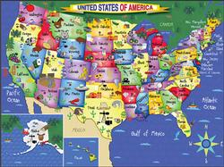 U.S.A. Map Maps Large Piece