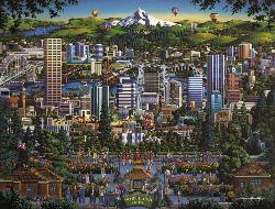 Portland City Of Roses Folk Art Jigsaw Puzzle
