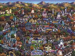 Solvang Danish Village Mountains Jigsaw Puzzle