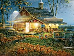 Autumn Traditions Cottage / Cabin Large Piece