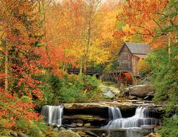 Old Grist Mill Waterfalls Jigsaw Puzzle