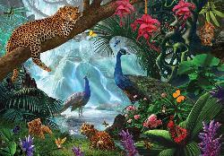 Jungle Leopard Flowers Jigsaw Puzzle