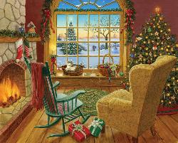 Cozy Christmas Cat Domestic Scene Jigsaw Puzzle