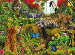 Wild Jungle Jungle Animals Large Piece
