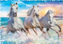 Galloping Among The Waves Horses Jigsaw Puzzle
