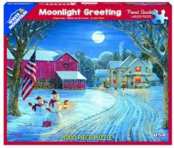 Moonlight Greeting Snowman Jigsaw Puzzle