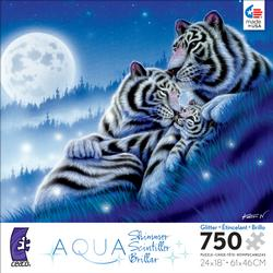 Dancing Light (Aqua Shimmer) Tigers Jigsaw Puzzle