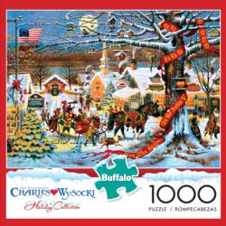 Small Town Christmas Americana & Folk Art Jigsaw Puzzle