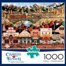 Sleepy Town West Folk Art Jigsaw Puzzle