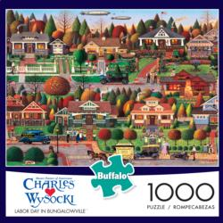 Labor Day in Bungalowville - Scratch and Dent Folk Art Jigsaw Puzzle