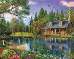 Mountain Cabin Lakes / Rivers / Streams Jigsaw Puzzle