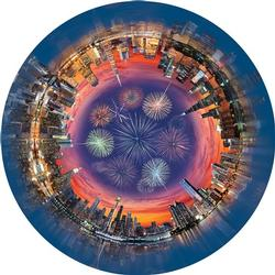 City Central (Round Table Puzzle) Fireworks Round Jigsaw Puzzle