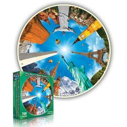 Legendary Landmarks (Round Table Puzzle) Statue of Liberty Round Jigsaw Puzzle