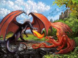 Dueling Dragons Dragons Jigsaw Puzzle