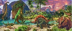 In the Land of the Dinosaurs Landscape Panoramic Puzzle