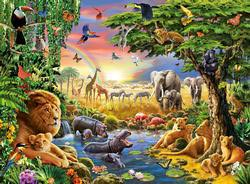 Evening at the Waterhole Jungle Animals Large Piece