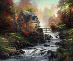 Cobblestone Mill Cottage / Cabin Jigsaw Puzzle