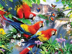 Tropical Birds Waterfalls Large Piece