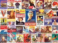 Vintage World War II Posters Collage Jigsaw Puzzle