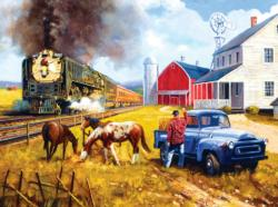 Farm by the Line Nostalgic / Retro Jigsaw Puzzle