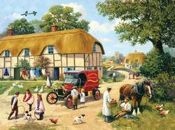 The Village Baker - Scratch and Dent Chickens & Roosters Jigsaw Puzzle