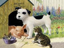 Beware of the Dog Farm Animals Jigsaw Puzzle