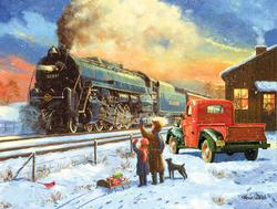 Going Home for Christmas Trains Jigsaw Puzzle