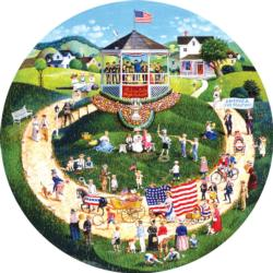 4th of July Parade Americana & Folk Art Round Jigsaw Puzzle