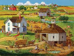 Bringing in the Hay Americana & Folk Art Jigsaw Puzzle
