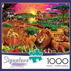 African Evening Lions Jigsaw Puzzle