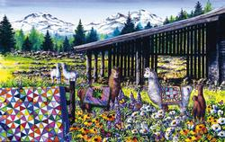 Sisters Kaleidoscope Flowers Jigsaw Puzzle
