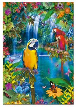 Bird Tropical Land Waterfalls Jigsaw Puzzle