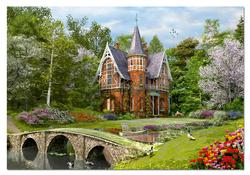 Cobbled Bridge Cottage Landscape Jigsaw Puzzle