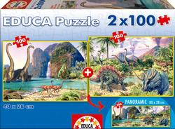 Dino World 2 Pack Dinosaurs Panoramic Puzzle