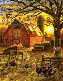 Sunset Barn Sunrise/Sunset Large Piece