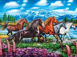 Running Horses (Puzzle Collector) Mountains Jigsaw Puzzle