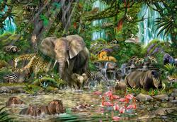 African Jungle Collage Jigsaw Puzzle