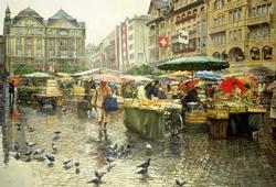 Produce Market, Basel Street Scene Jigsaw Puzzle