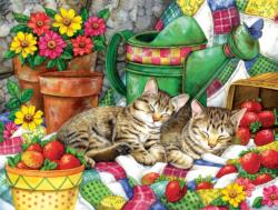 Strawberry Sweethearts Cats Jigsaw Puzzle