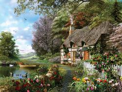 Country Cottage Flowers Jigsaw Puzzle