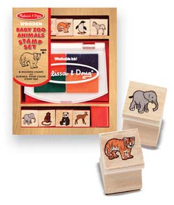 Baby Zoo Animals Stamp Set Wooden