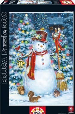 Woodland Snowman Deer Jigsaw Puzzle