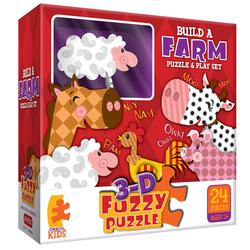 Farm (3D Fuzzy Puzzle & Playset) Cows Children's Puzzles