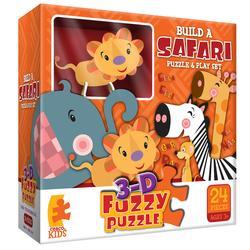 Safari (3D Fuzzy Puzzle & Playset) Zebras Children's Puzzles