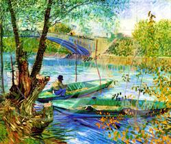 Fishing in Spring Impressionism Wooden Jigsaw Puzzle