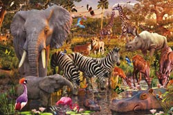 African Animal World, 3000 pcs Jungle Animals Jigsaw Puzzle
