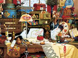 Maggie the Messmaker (The Cats of Charles Wysocki) Cats Jigsaw Puzzle